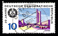 Briefmarke 20 Jahre DDR mit Kondensstreifen