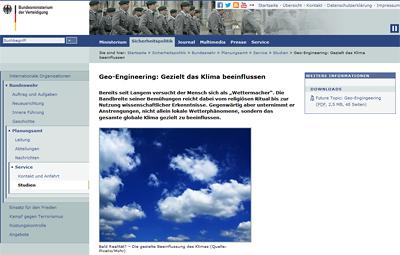 Hat Bundeswehr Geo-Engineering bestätigt?