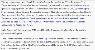 Auftrag zu Spam an CDU/CSU