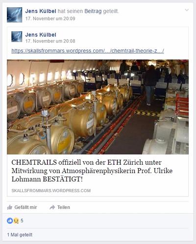 Chemtrails von ETH Zürich bestätigt?