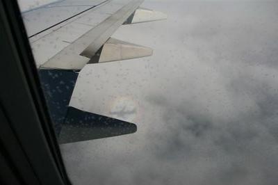 Glorie mit Flugzeugschatten