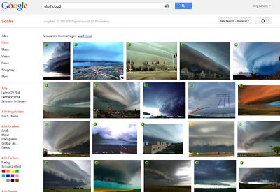 Google-Suche nach shelf cloud