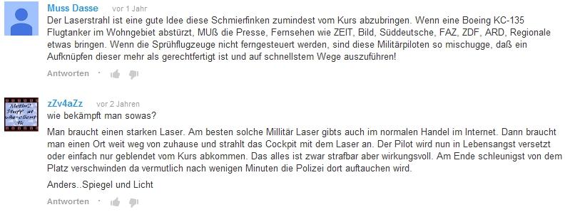 Laserattacken auf Flugzeuge