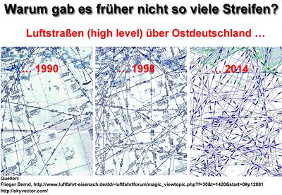 Luftstraßen über Ostdeutschland 1990 und 1998