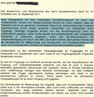 Brief des Bundeskanzleramts Österreich an Herrn Steiner