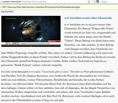 n-tv, Borrmann und die Chemtrails