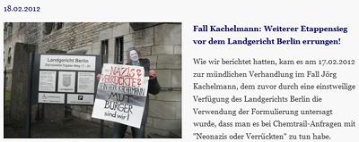 Fall Kachelmann: Weiterer Etappensieg vor dem Landgericht Berlin errungen!