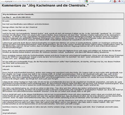 Jörg Kachelmann 2004 zu Chemtrails