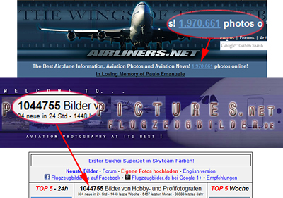 Ca. 3 Millionen Flugzeugfotos