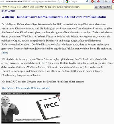 Wolfgang Thüne kritisiert den Weltklimarat IPCC und warnt vor Ökodiktatur