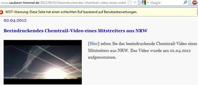 Beeindruckendes Chemtrail-Video eines Mitstreiters aus NRW