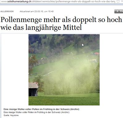 Hydrogel-Pollen über der Schweiz