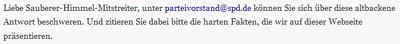Auftrag zu Spam an SPD