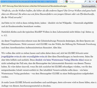 Auftragsschreiberei an GLOBE Schweiz