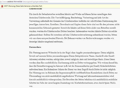 Nutzungsbedingungen der Website sauberer-himmel.de