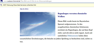 Regenbogen verraten chemische Wolken