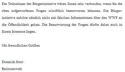 Brief des Rechtsanwalts Dominik Storr an den WWF