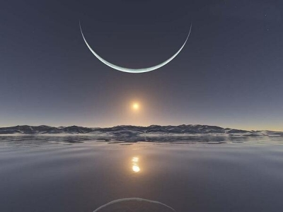 Sunrise at the North Pole With the Moon at its Closest Point.
