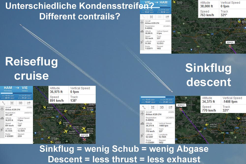 Unterschiedliche Streifen bei unterschiedlichen Flugphasen